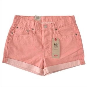 NWT Levi's Mid Rise jean Shorts Peach Pink size 30